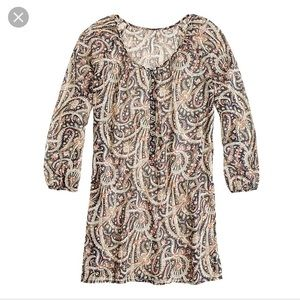 J Crew Feather Paisley Tunic Beach Cover Up